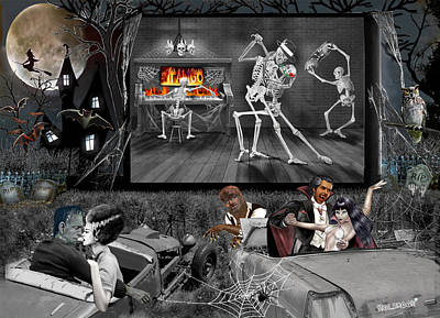 Digital Art - Haunted Halloween Drive-in by Glenn Holbrook