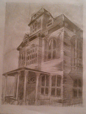 Abandoned House Drawing - Haunted House 1 by Sonya Ball