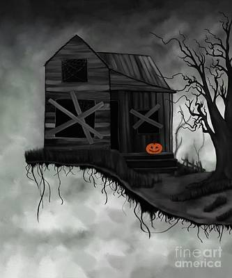 Digital Art - Haunted House And Jolly Pumpkin by Alisha at AlishaDawnCreations