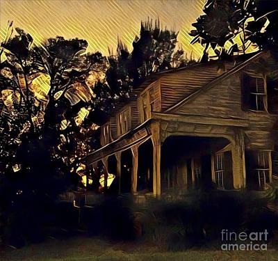 Photograph - Haunted House At Dusk by Susan Bordelon