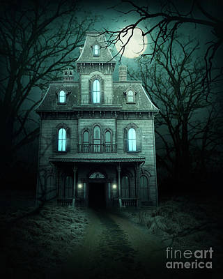 Haunted House Digital Art - Haunted House In Forest by Elena Schweitzer