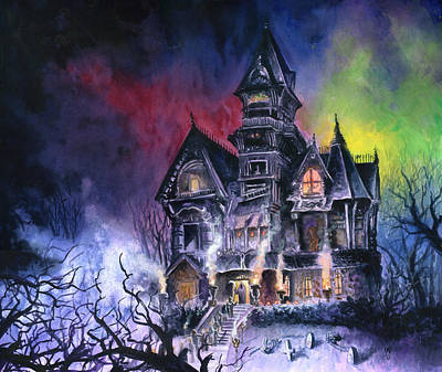 Horror Painting - Haunted House by Ken Meyer