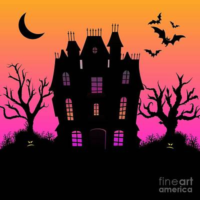 Haunted Mansion Mixed Media - Haunted Silhouette Rainbow Mansion by DKate Smith