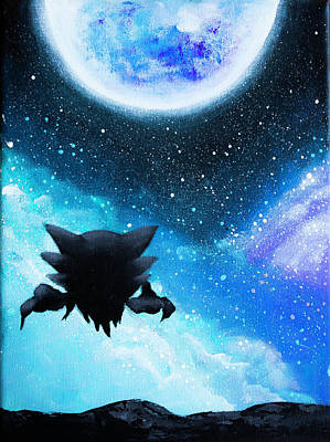 Haunter Under The Moon  Art Print by Magda Swinya