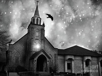 Photograph - Haunting Spooky Gothic Black And White Church With Ravens Crows by Kathy Fornal