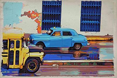 Photograph - Havana Bus Y Taxi by Alice Gipson