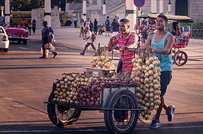 Art Print featuring the photograph Havana Cuba Onion Cart by Joan Carroll