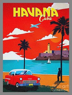 Painting - Havana Cuba - Vintage 1950s by Ian Gledhill
