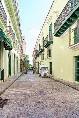 Photograph - Havana Side Street Yellow And Green by Sharon Popek