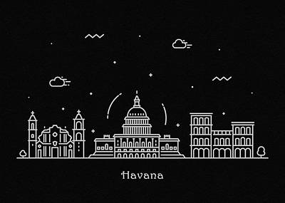 Drawing - Havana Skyline Travel Poster by Inspirowl Design
