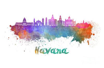 Caribe Painting - Havana V2  Skyline In Watercolor by Pablo Romero