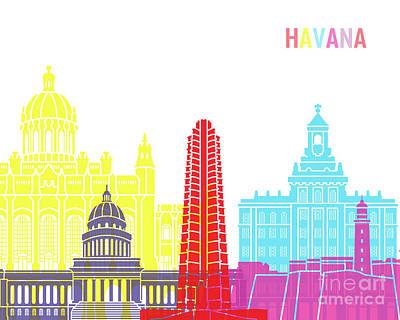Caribe Painting - Havana V2 Skyline Pop by Pablo Romero