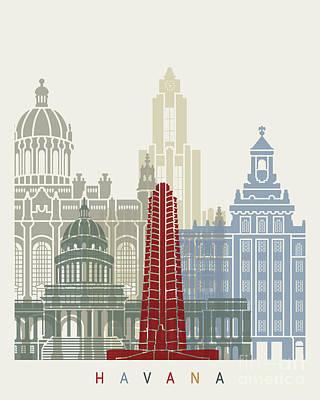 Caribe Painting - Havana V2 Skyline Poster by Pablo Romero