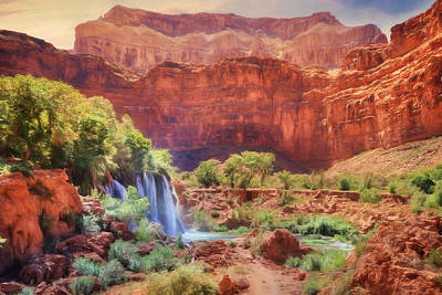 Grand Canyon Mixed Media - Havasu Canyon - Upper Navajo Falls by Lori Deiter