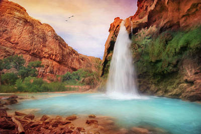 Grand Canyon Mixed Media - Havasu Falls by Lori Deiter