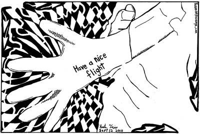 Have A Nice Flight....maze Cartoon By Yonatan Frimer Print by Yonatan Frimer Maze Artist
