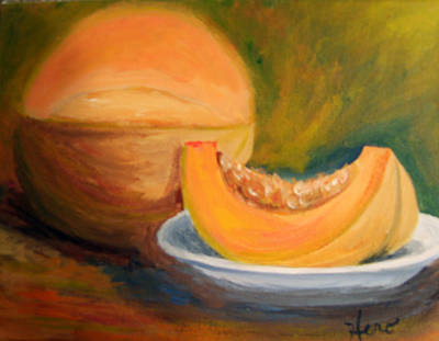 Cantaloupe Painting - Have A Wedge by Marcia  Hero