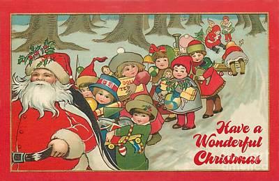 Painting - Have A Wonderful Christmas Vintage by R Muirhead Art