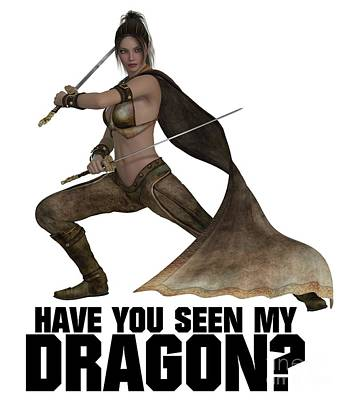 Boobies Digital Art - Have You Seen My Dragon? by Esoterica Art Agency