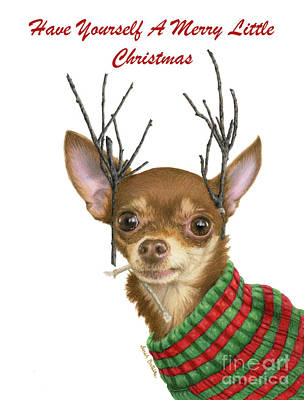 Chihuahua Portraits Painting - Have Yourself A Merry Little Christmas Cards by Sarah Batalka