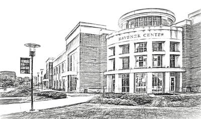 Photograph - Havener Center - Sketch - Missouri University Of Science And Technology by Nikolyn McDonald