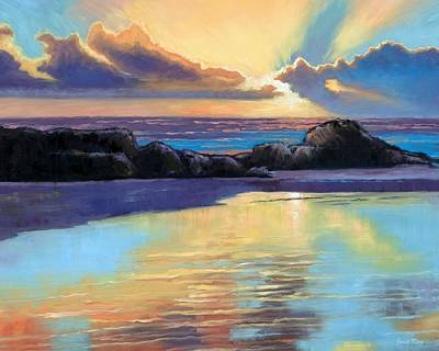 Farsund Painting - Havik Beach Sunset by Janet King
