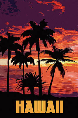 Painting - Hawaii At Sunset by Andrea Mazzocchetti