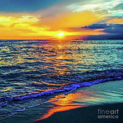 Art Print featuring the photograph Hawaii Beach Sunset 149 by D Davila