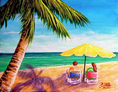 Hawaii Beach Yellow Umbrella #470 Art Print by Donald k Hall