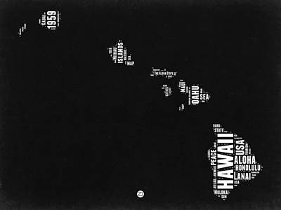 Hawaii Black And White Map Art Print by Naxart Studio