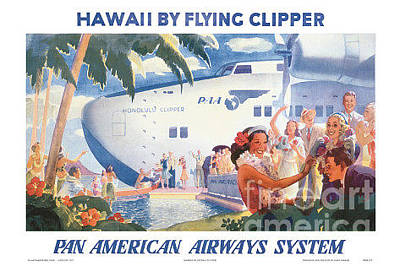 Airways Painting - Hawaii By Flying Clipper by Nostalgic Prints