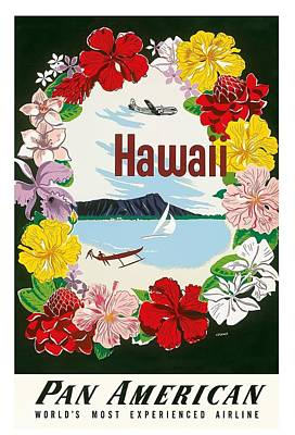 Dugouts Digital Art - Hawaii Flower Lei And Diamond Head Crater Vintage Hawaiian Travel Poster By A. Amspoker  by Retro Graphics
