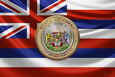 Hawaii Great Seal Over State Flag Original by Serge Averbukh