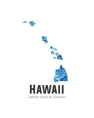 Flow Mixed Media - Hawaii Map Art Abstract In Blue by Studio Grafiikka