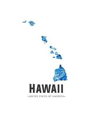 Hawaii Map Art Abstract In Blue Art Print
