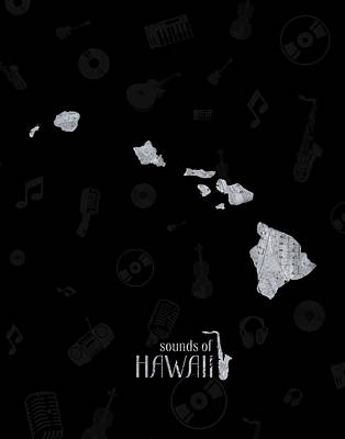Rock And Roll Royalty-Free and Rights-Managed Images - Hawaii Map Music Notes 2 by Bekim Art