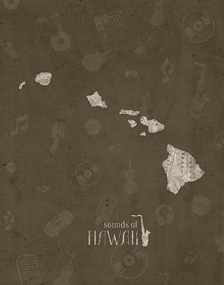 Jazz Royalty Free Images - Hawaii Map Music Notes 3 Royalty-Free Image by Bekim M