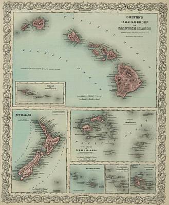Galapagos Drawing - Hawaii, New Zealand, Fiji,tonga, Samoa, French Polynesia, Marquesas, And Galapagos Islands by Colton