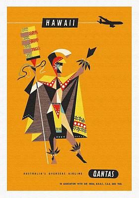Kahuna Digital Art - Hawaii Qantas Airways Vintage Hawaiian Travel Poster By Harry Rogers by Retro Graphics