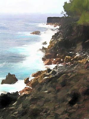 Photograph - Hawaii Shoreline Painterly by Mary Bedy