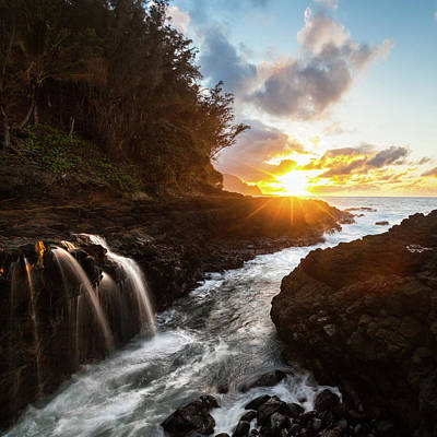 Photograph - Hawaii Sunset With Ocean Waterfall by Lace Andersen