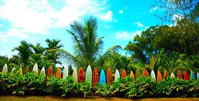 Hawaii Surfboard Fence Photograph  Print by Michael Ledray
