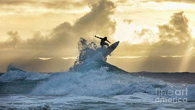 Photograph - Hawaii Surfing Sunset Polihali Beach Kauai by Dustin K Ryan