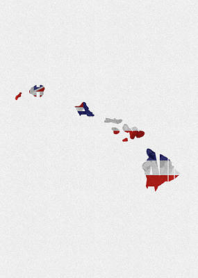 Painting - Hawaii Typographic Map Flag by Inspirowl Design