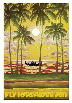 Dugouts Digital Art - Hawaii Vintage Airline Travel Poster  by Retro Graphics