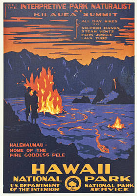 Pele Wall Art - Digital Art - Hawaii Vintage Travel Poster by Georgia Fowler