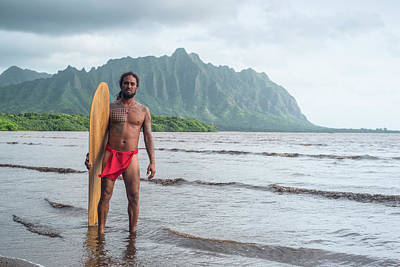 Hand Carved Photograph - Hawaiian Alaia Surfer by Sean Davey