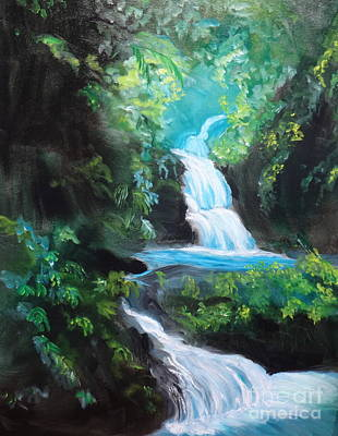 Hawaiian Waterfalls Art Print by Jenny Lee