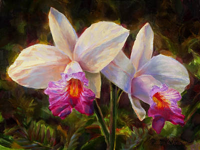 White Orchid Painting - Hawaiian Bamboo Orchid by Karen Whitworth
