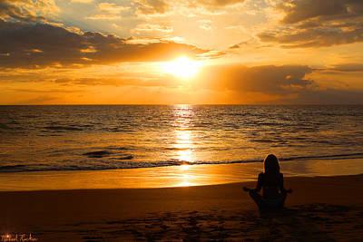 Woman Doing Yoga Photograph - Hawaiian Beach Yoga by Michael Rucker